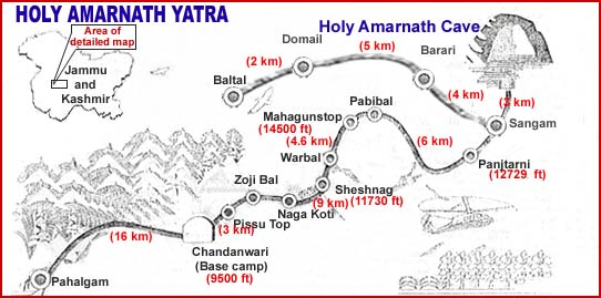 Amarnath Yatra Route Map route map of holy cave of shiv shankar   Bhole Bhandari